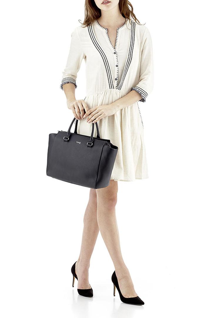 Plume Elegance Satchel Bag Black   3